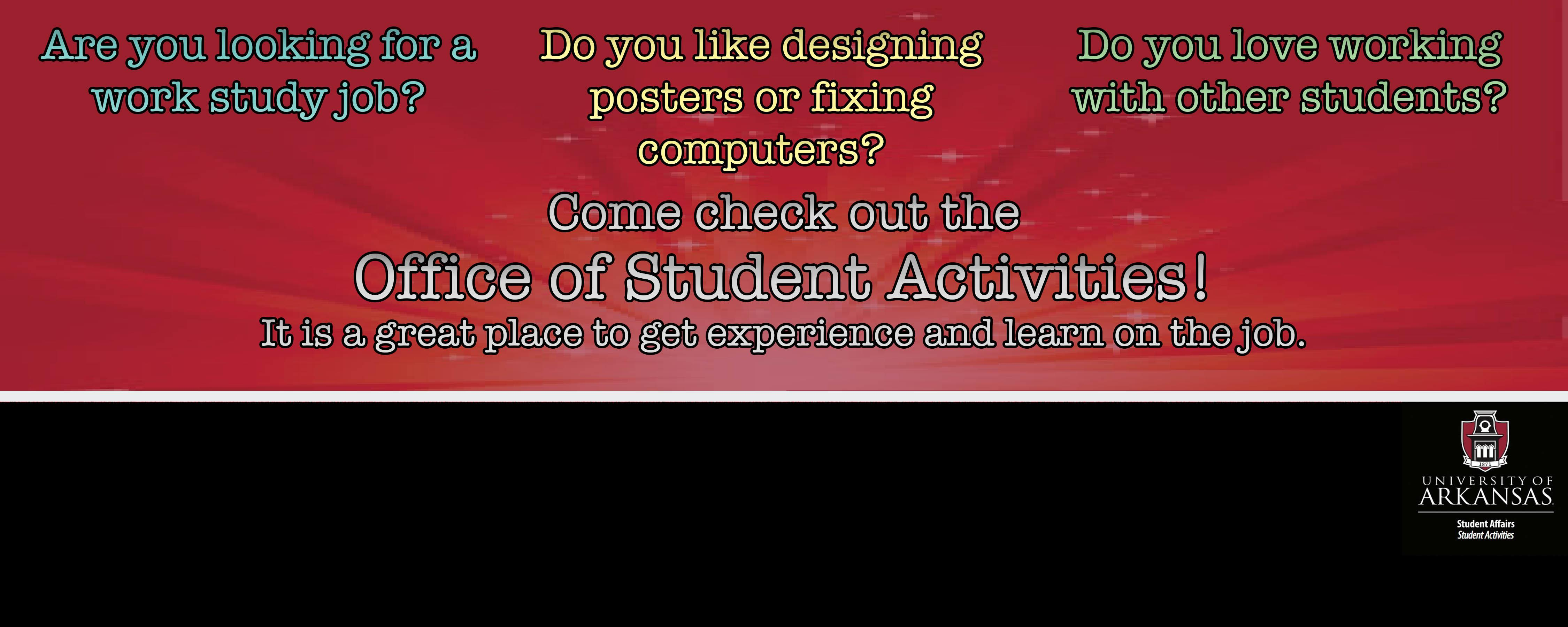 Office of Student Activities Work Study Applications